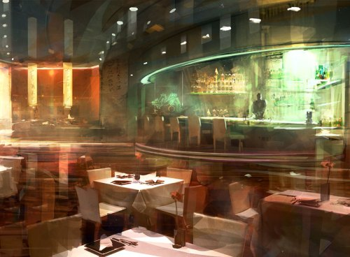 """Stephane Belin's """"Chinese Bar,"""" created in Photoshop for the video game Army of Two: The 40th Day"""