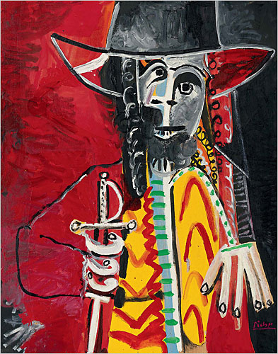 "Pablo Picasso, ""Man with a Sword,"" 1969, oil on board, 146 x 114 cm"