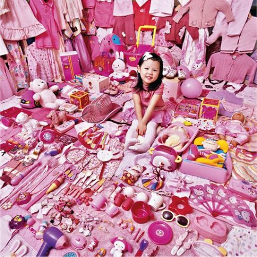 "Jeongmee Yoon, ""Seohyun and Her Pink Things"" from The Pink Project, 2007, light jet print, 142 x 142 cm"