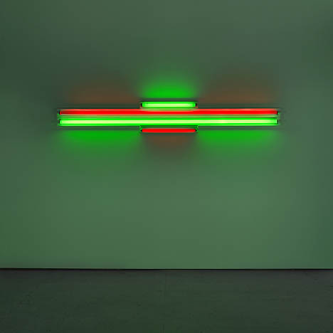 "Dan Flavin, ""red and green alternatives (to Sonja),"" 1964. red and green fluorescent light8 ft. (244 cm) wide. Photo: Billy Jim. Courtesy Dia Art Foundation."